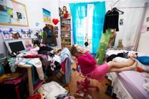 messy student bedroom